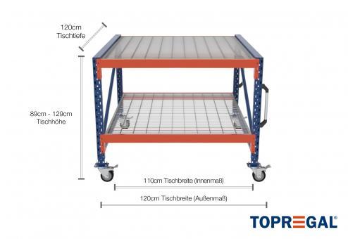 1,2m Arbeitstisch Lagerregal fahrbar 89 - 129cm Tischhöhe / 120cm tief mit 2 Ebenen inkl. Gitterrost