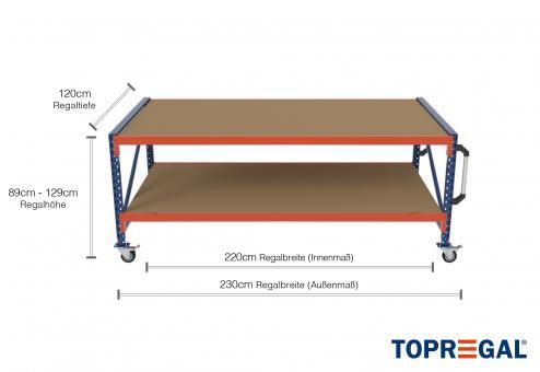 2,3m Arbeitstisch Lagerregal fahrbar 89 - 129cm Tischhöhe / 120cm tief mit 2 Ebenen inkl. Holzböden