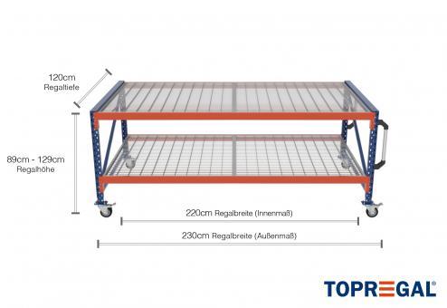 2,3m Arbeitstisch Lagerregal fahrbar 89 - 129cm Tischhöhe / 120cm tief mit 2 Ebenen inkl. Gitterrost