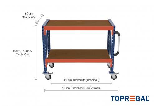 1,2m Arbeitstisch Lagerregal fahrbar 89 - 129cm Tischhöhe / 60cm tief mit 2 Ebenen inkl. Multiplexplatte