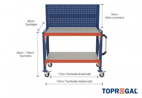 1,2m Arbeitstisch Lagerregal fahrbar mit Lochrückwand 89 - 129cm Tischhöhe / 80cm tief mit 2 Ebenen inkl. Stahlböden