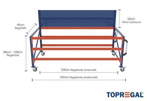2,3m Arbeitstisch Lagerregal fahrbar mit Lochrückwand 89 - 129cm Tischhöhe / 40cm tief mit 3 Ebenen, ohne Auflage