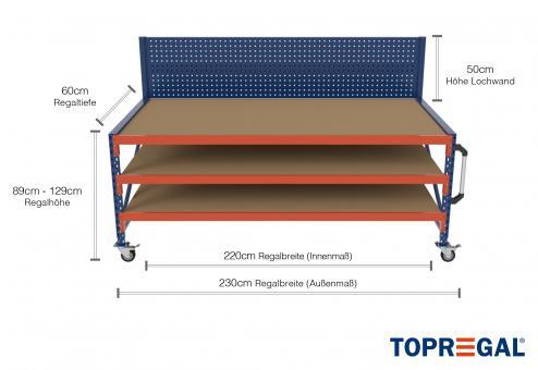2,3m Arbeitstisch Lagerregal fahrbar mit Lochrückwand 89 - 129cm Tischhöhe / 60cm tief mit 3 Ebenen inkl. Holzböden