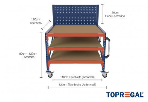 1,2m Arbeitstisch Lagerregal fahrbar mit Lochrückwand 89 - 129cm Tischhöhe / 120cm tief mit 3 Ebenen inkl. Holzböden