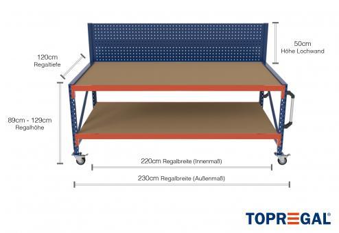 2,3m Arbeitstisch Lagerregal fahrbar mit Lochrückwand 89 - 129cm Tischhöhe / 120cm tief mit 2 Ebenen inkl. Holzböden