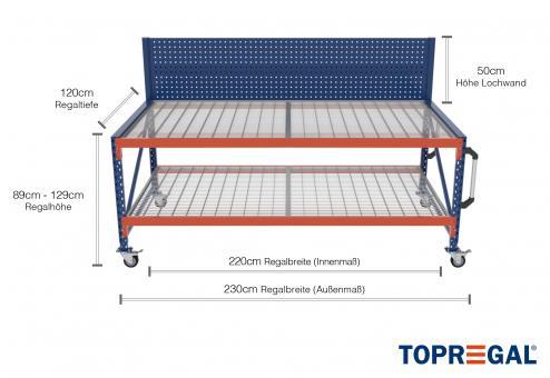 2,3m Arbeitstisch Lagerregal fahrbar mit Lochrückwand 89 - 129cm Tischhöhe / 120cm tief mit 2 Ebenen inkl. Gitterrost