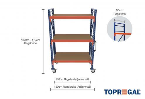 1,2m Lagerregal fahrbar 139 - 179cm Regalhöhe / 60cm tief mit 3 Ebenen inkl. Holzböden