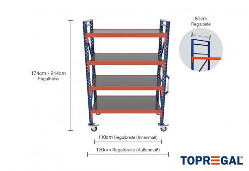 1,2m Lagerregal fahrbar 174 - 214cm Regalhöhe / 80cm tief mit 4 Ebenen inkl. Stahlböden
