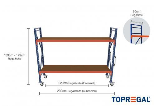 2,3m Lagerregal fahrbar 139 - 179cm Regalhöhe / 60cm tief mit 2 Ebenen inkl. Multiplexplatte