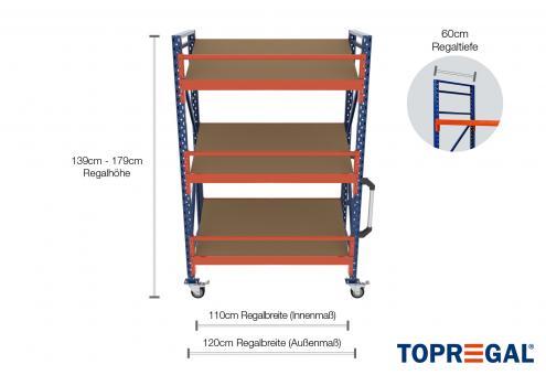 1,2m Lagerregal fahrbar 139 - 179cm Regalhöhe / 60cm tief mit 3 Ebenen inkl. Schrägböden