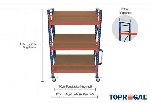 1,2m Lagerregal fahrbar 174 - 214cm Regalhöhe / 60cm tief mit 3 Ebenen inkl. Schrägböden