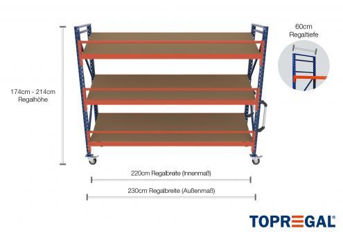 2,3m Lagerregal fahrbar 174 - 214cm Regalhöhe / 60cm tief mit 3 Ebenen inkl. Schrägböden