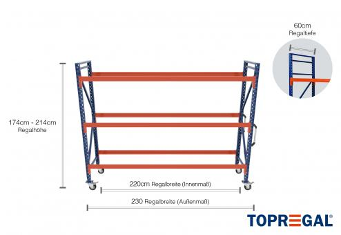 2,3m Reifenregal fahrbar 174 - 214cm Regalhöhe / 60cm tief mit 3 Ebenen