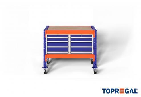 1,2m Werkzeugwagen fahrbar MFW1000 89-129cm hoch 80cm tief inkl. Multiplexplatte und 2x WS4 Werkzeugschränken