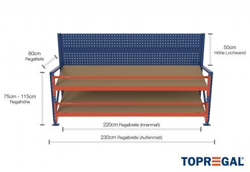 2,3m Arbeitstisch Lagerregal / Grundtisch mit Lochrückwand 75 - 115cm Tischhöhe / 60cm tief mit 2 Ebenen inkl. Schrägböden