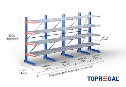 5,9m Kragarmregal (Typ:KR3000 Lackiert) 4m hoch einseitig mit 4 Ebenen 100cm tief inkl. Gitterrost