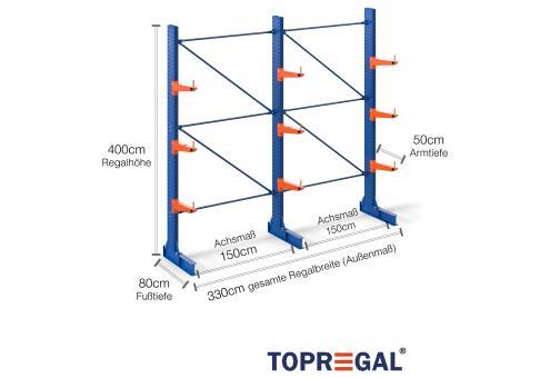 3,3m Kragarmregal 400cm hoch einseitig mit 3 Ebenen 50cm tief