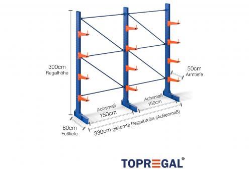 3,3m Kragarmregal 300cm hoch einseitig mit 4 Ebenen 50cm tief