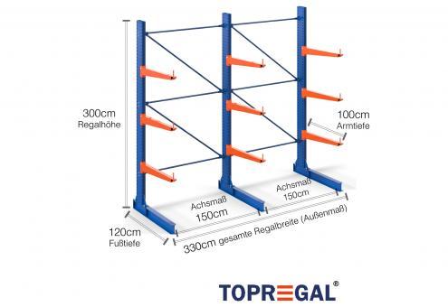 3,3m Kragarmregal (Typ:KR3000 Lackiert) 3m hoch einseitig mit 3 Ebenen 100cm tief