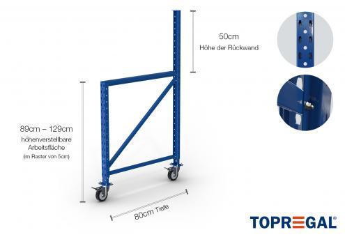 Packtisch Lagerregal Ständer 89-129cm höhenverstellbar / 80cm tief mit Rollen (für Lochrückwand)