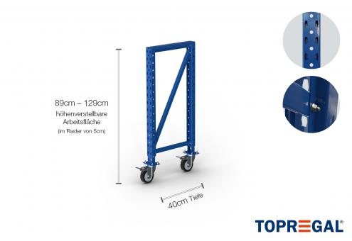 Packtisch Lagerregal Ständer 89cm hoch mit 40cm höhenverstellbaren Fußteil/40cm tief mit Rollen
