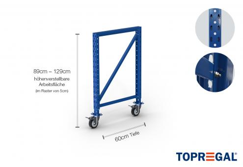 Packtisch Lagerregal Ständer 89cm hoch mit 40cm höhenverstellbaren Fußteil/60cm tief mit Rollen