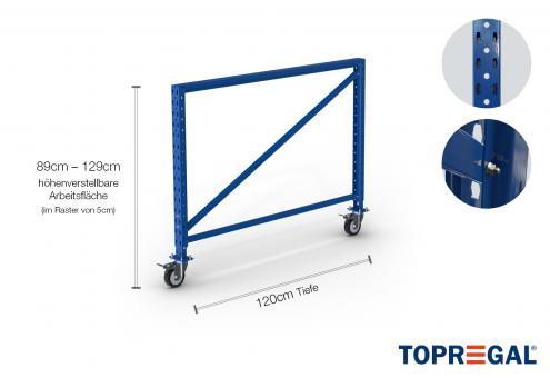 Packtisch Lagerregal Ständer 89cm hoch mit 40cm höhenverstellbaren Fußteil/120cm tief mit Rollen