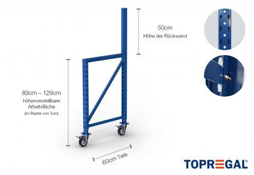 Werkbank MFW1000 Ständer 89-129cm höhenverstellbar / 60cm tief mit Rollen (für Lochrückwand)