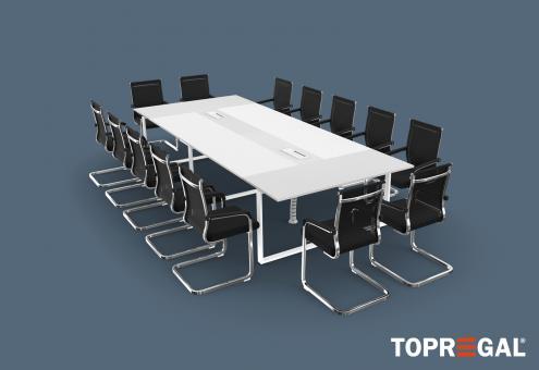 Konferenztisch-Set ANJA360i mit Induktionsladestation Lichtgrau - Weiß  + 14 Stühle MARINA