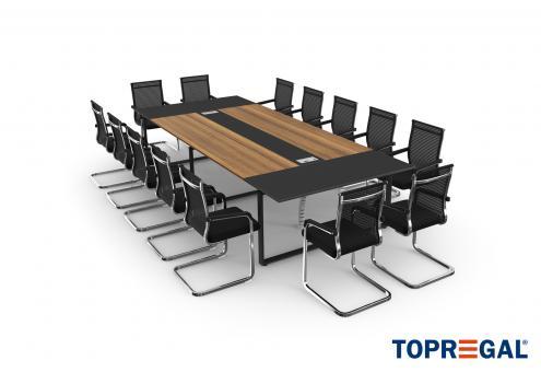 Konferenztisch-Set ANJA360 + 14 Stühle MARINA