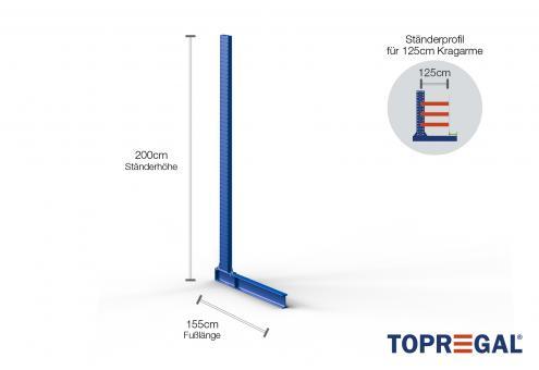 Kragarmregal-Ständer 2m hoch 125cm tief pulverbeschichtet einseitig
