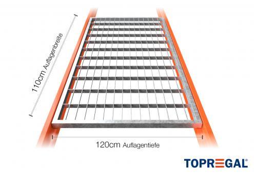 Lagerregal Gitterrost aus Stahl 110cm / 120cm tief (inkl 1x Tiefensteg)
