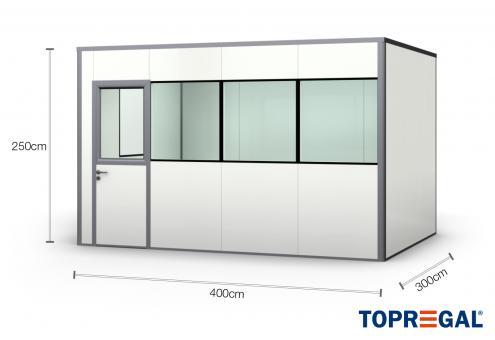Hallenbüro Meisterbüro PREFAB-12, 4 Fenster, 1 Tür (14 Paneele)