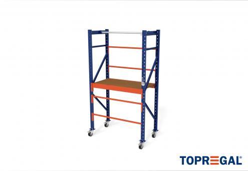1,2m Packtisch fahrbar MFP1000, 214cm hoch, 40cm höhenverstellbar, 60cm tief, inkl. Multiplexplatte