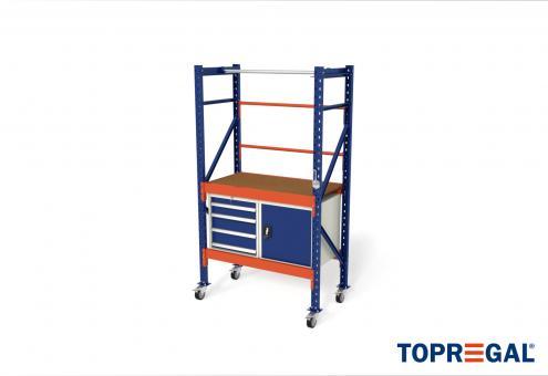 1,2m Packtisch fahrbar MFP1000, 214cm hoch, 40cm höhenverstellbar, 60cm tief, inkl. Multiplexplatte und Werkzeugschränke