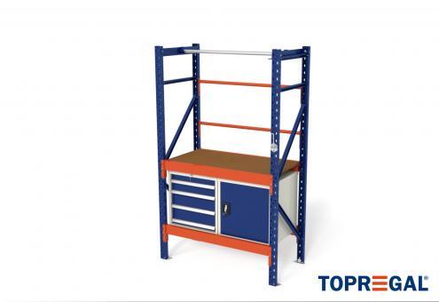 1,2m Packtisch MFP1000, 200cm hoch, 40cm höhenverstellbar, 60cm tief, inkl. Multiplexplatte und Werkschränke