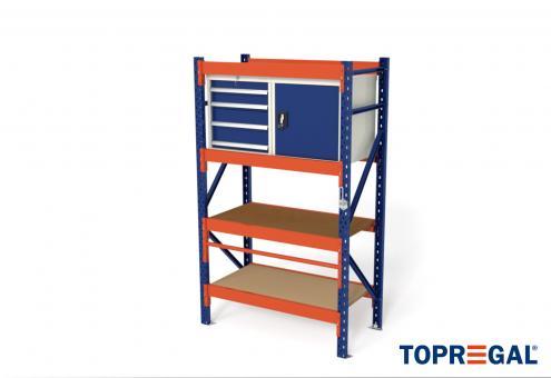1,2m Packtisch MFP1000, 200cm hoch, 40cm höhenverstellbar, 60cm tief, inkl. Multiplexplatte und Werkzeugschränke