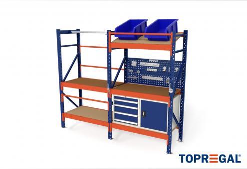 2,3m Packtisch MFP1000, 200cm hoch, 40cm höhenverstellbar, 60cm tief, inkl. Multiplexplatte und Werkzeugschränke