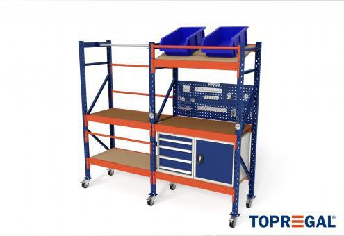 2,3m Packtisch fahrbar MFP1000, 214cm hoch, 40cm höhenverstellbar, 60cm tief, inkl. Multiplexplatte und Werkzeugschränke