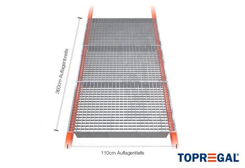 Palettenregal Gitterrost verzinkt 360cm/110cm Belastung 2200kg