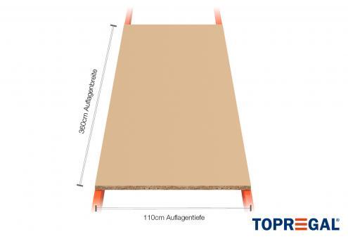 Palettenregal Regalboden aus Holz 360cm/110cm tief/38mm stark inkl. 8 Z-Bleche