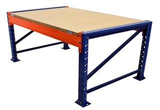 Packtisch Palettenregal /Grundtisch 180cm mit 1 Ebenen inkl. Holzböden