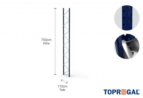 Palettenregal Ständer 750cm hoch / 110cm tief / Feldlast: 9000kg