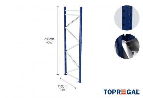 Palettenregal Ständer 250cm hoch / 110cm tief / Feldlast: 9000kg.
