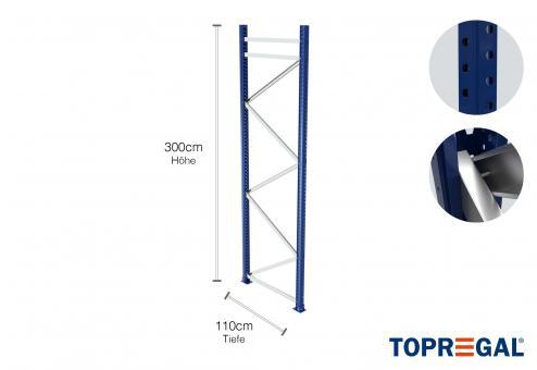 Palettenregal Ständer 300cm hoch / 110cm tief / Feldlast: 9000kg.