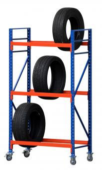 Reifenregal fahrbar, 120cm mit 3 Ebenen, 40cm tief, 200cm hoch
