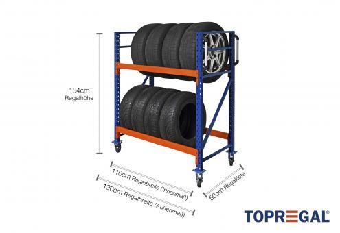 Reifenwagen Reifenregal 120cm breit / 154cm höhenverstellbar / 50cm tief mit 2 Ebenen