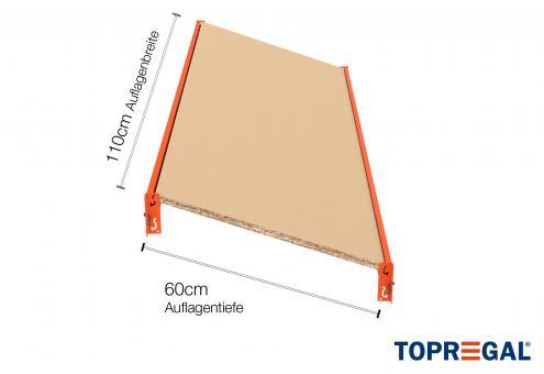 Schrägbodenregal Regalboden aus Holz 110cm / 60cm tief