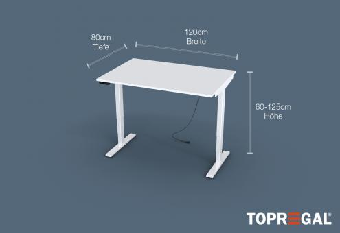 MILLA120 Elektrisch höhenverstellbarer Schreibtisch MILLA in Weiß, 120cm x 80cm