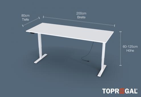 MILLA200 Elektrisch höhenverstellbarer Schreibtisch MILLA in Weiß, 200cm x 80cm